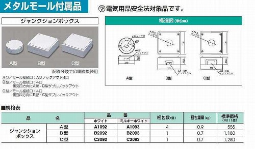 マサル工業:メタルモール付属品-ジャンクションボックス(B型・ホワイト)