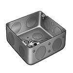中型四角アウトレットボックス浅型(トロセーブ)(中浅型スタット付・標準+メガネ型)(鋼板製電気亜鉛めっき)