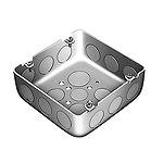 大型四角アウトレットボックス浅型(大浅型C19三ツ穴)(鋼板製電気亜鉛めっき)