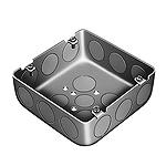大型四角アウトレットボックス浅型(大浅型C25三ツ穴)(鋼板製電気亜鉛めっき)