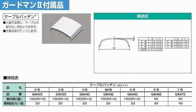 マサル工業:ガードマンII付属品-ケーブルパッチン(特4号・ホワイト)