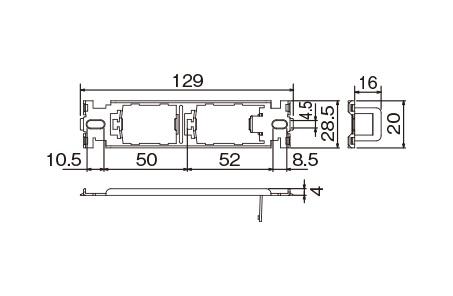 WCN3722:Sプレート組合せ用取付枠(はさみ金具WNH3992対応)2コ用